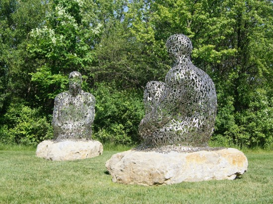 Sculptures make these rocks less lonely in the Frederick Meijer Gardens, Grand Rapids, Michigan.