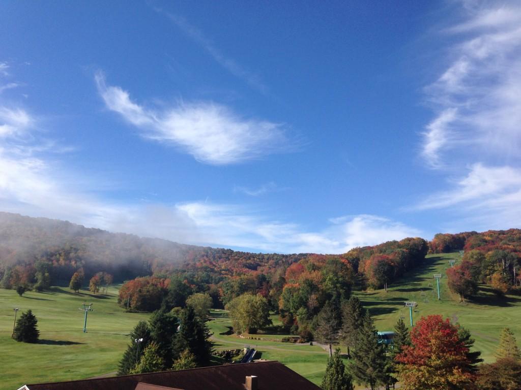 Ski slopes in fall