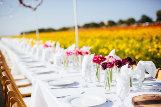 The table was set for our April 15th Field to Vase Dinner at The Flower Fields in Carlsbad, Calif., where we dined amid 50 acres of ranunculus (c) Jodee Debes Photo.