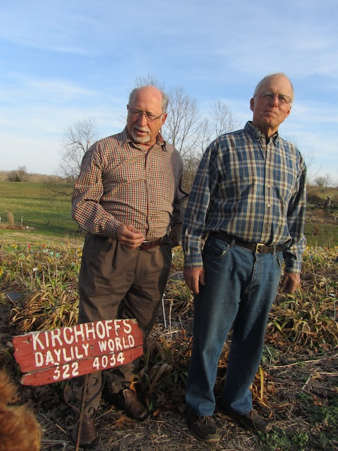 David Kirchhoff and Mort Morss on top of the Daylily World in Lawrenceburg, Kentucky.