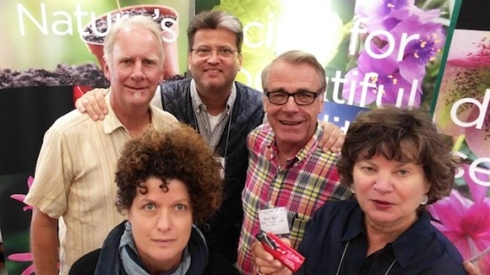 Selfie at the Jelitto Perennial Seeds trade show booth during 2015 Perennial Plant Symposium. (L-R) Ed Snodgrass, Mary Vaananen, Georg Uebelhart, Allen Bush and Mary Anne Thornton.