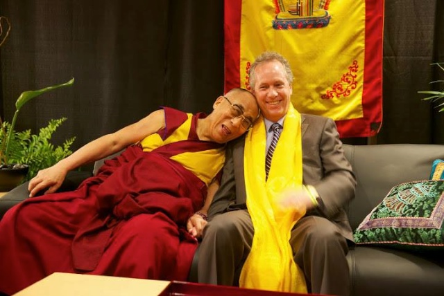 The Dalai Lama and Louisville's Compassionate Mayor Greg Fischer. Photo by John Nation.