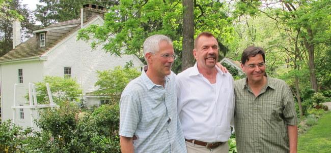 David Culp, Adam Levine and Rob Cardillo in Culp garden