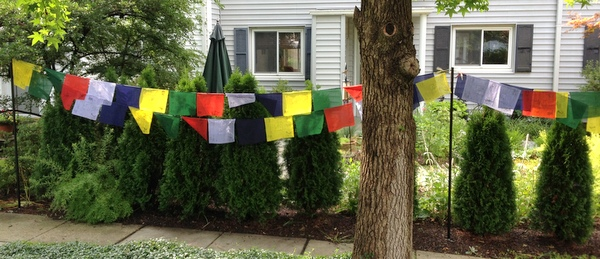 Prayer flags in garden