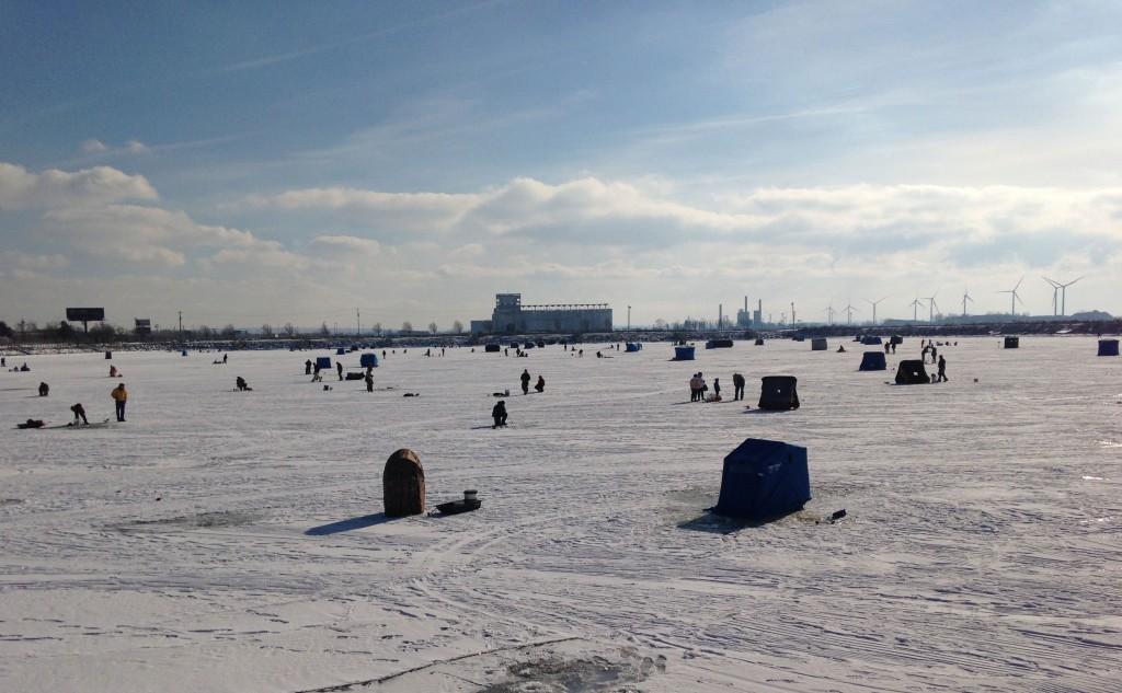 Ice fishing on Buffalo's small boat harbor