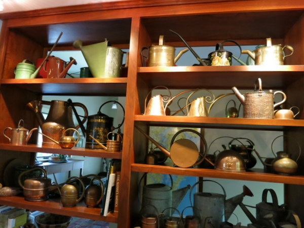 Barbara Ellis's watering can collection in Chestertown, Maryland