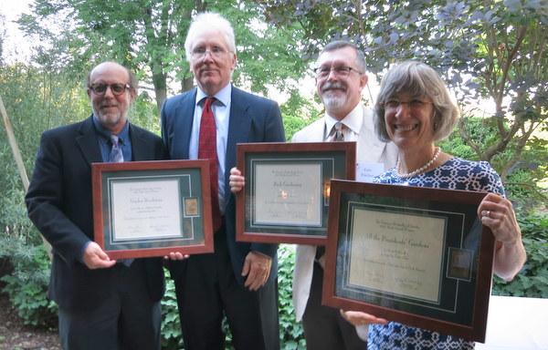 Larry Weaner, Tom Christopher, Tom Fischer and Marta McDowell, AHS award winners