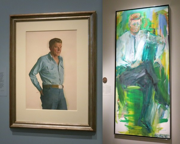 Reagan and Kennedy Presidential portraits in National Portrait Gallery in Washington