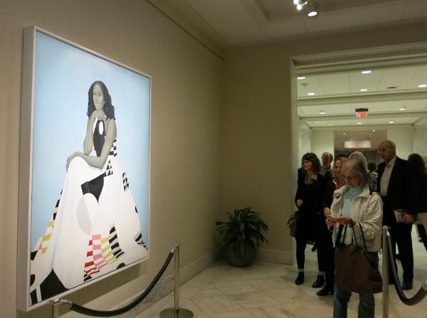 Portrait of Michelle Obama in National Portrait Gallery in Washington
