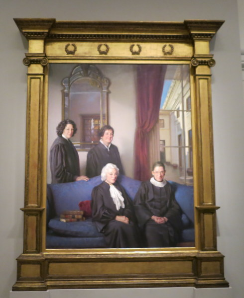 Portrait of female Supreme Court justices in National Portrait Gallery in Washington