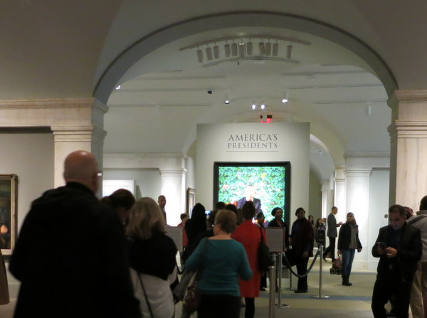 LIne to see Obama Presidential portrait in National Portrait Gallery in Washington
