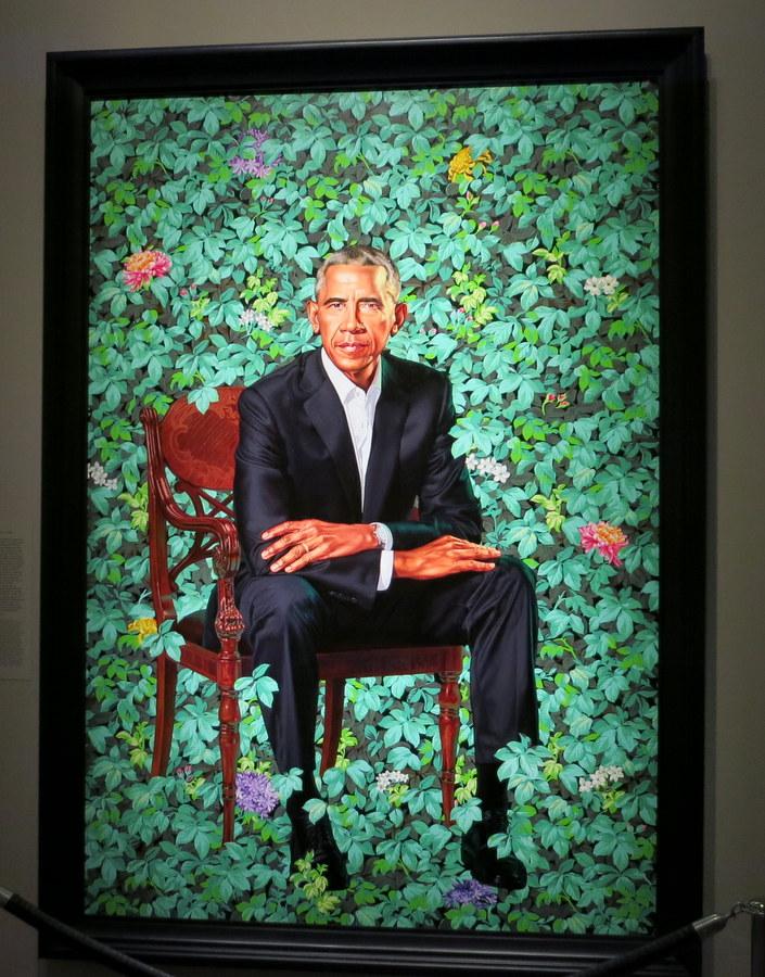 Obama Presidential portrait in National Portrait Gallery in Washington