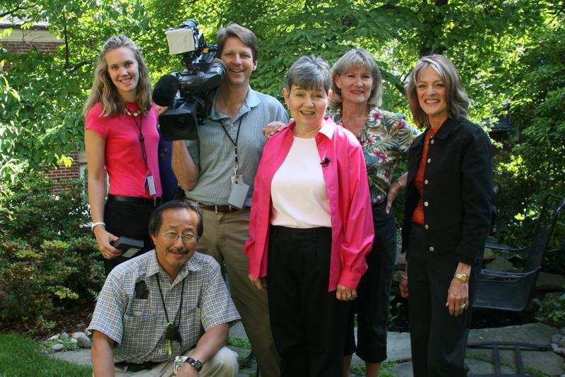 Rita Braver and CBS Sunday Morning crew with garden coach Susan Harris