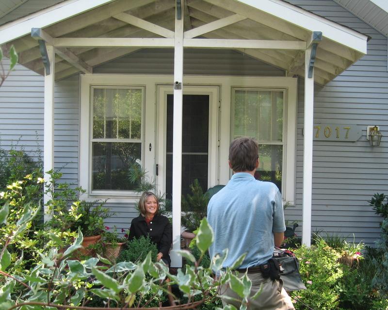 Rita Braver on Susan Harris's front porch in Takoma Park, MD