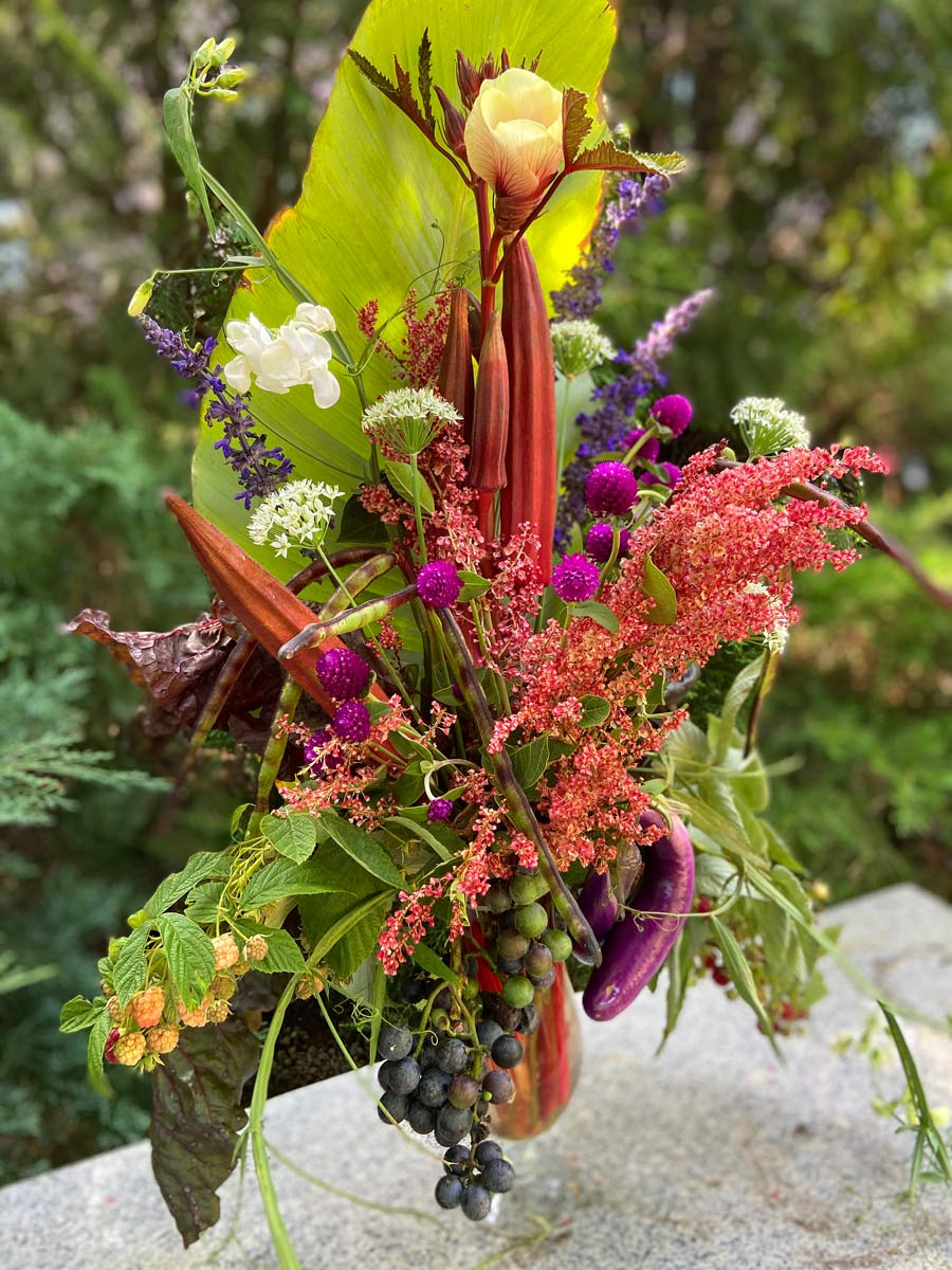 flower and vegetable arrangement