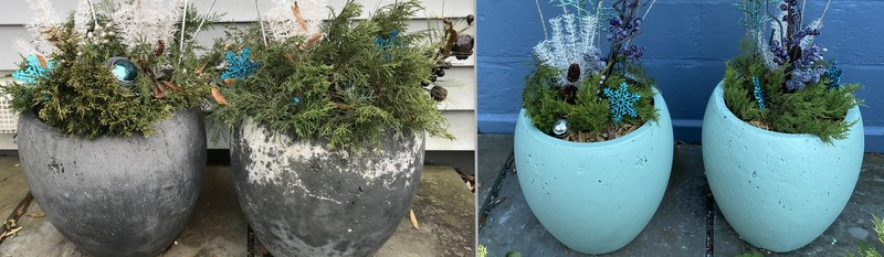 before and after painting grey pots green