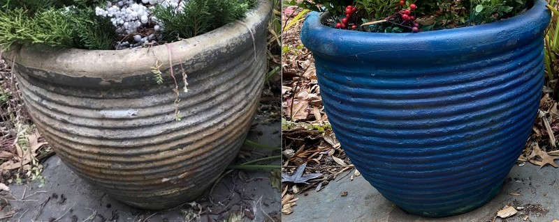 before and after painting grey pots vibrant blue
